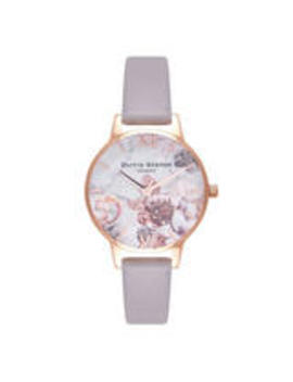 Olivia Burton Marble Floral Rose Gold Tone Ladies Watch by Beaverbrooks