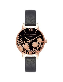 Lace Detail Black & Rose Gold Watch by Olivia Burton
