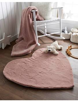 Children's Luxury Faux Fur Heart Shaped Rug by Fashion World