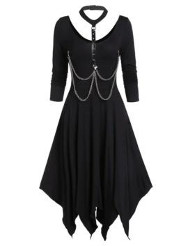 Asymmetrical Choker Chains Handkerchief Long Sleeve Dress by Dress Lily