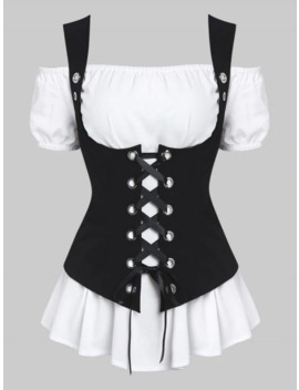 Off Shoulder Casual Blouse And Lace Up Waistcoat Set by Dress Lily