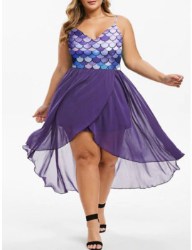 Mermaid Scales Overlap High Low Plus Size Dress by Dress Lily