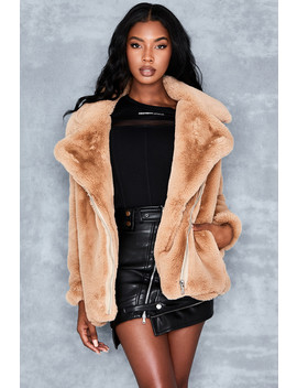 Camel Fur Biker Jacket by Mistress Rocks