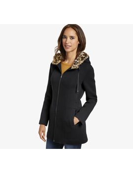 Bonded Knit Jacket With Leopard Lined Hood by Johnston & Murphy