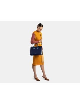 The Strathberry Tote   Tri Colour Navy/Illusion Blue/Alice Blue by Strathberry