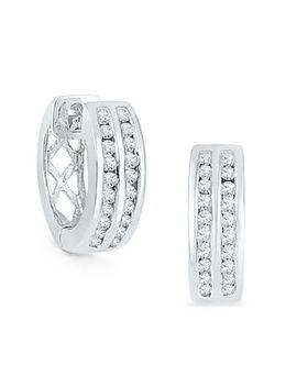 1/4 Ct. T.W. Diamond Double Row Hoop Earrings In Sterling Silver by Zales