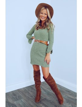 The Time Is Now Dress: Dusty Olive by Hope's