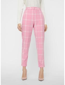 Pink Checkered Dress Pants by Vero Moda