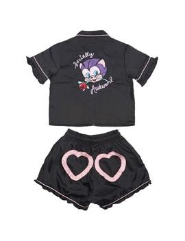 Lazy Oaf Women Socially Awkward Pajamas Set (Black) by Bait