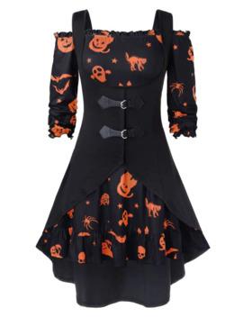 Plus Size Off The Shoulder Pumpkin Print Halloween Vintage Dress With Vest by Dress Lily