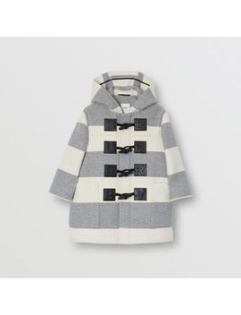Logo Detail Striped Wool Cashmere Blend Duffle Coat by Burberry
