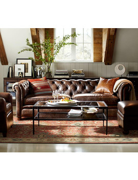 Chesterfield Leather Sofa (218 Cm) by Pottery Barn