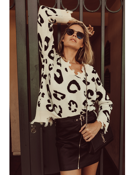 Distressed Cheetah Sweater by Amaryllis Apparel