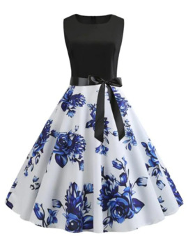 A Line Flower Print Belted Retro Dress by Dress Lily