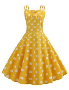 Bowknot Polka Dot Strappy Flare Dress by Dress Lily