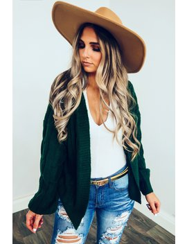 Fall Thrills Cardigan: Hunter Green by Hope's
