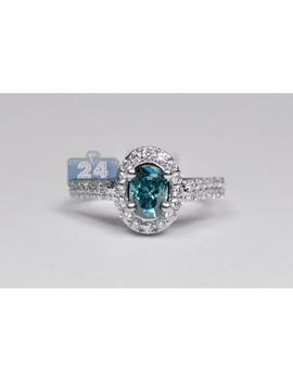 18 K White Gold 3.07 Ct Oval Blue Diamond Womens Engagement Ring by 24diamonds