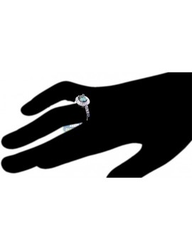 18 K White Gold 2.88 Ct Oval Blue Diamond Womens Engagement Ring by 24diamonds
