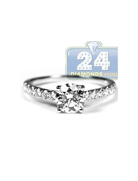 18 K White Gold 1.45 Ct Diamond Classic Engagement Ring by 24diamonds