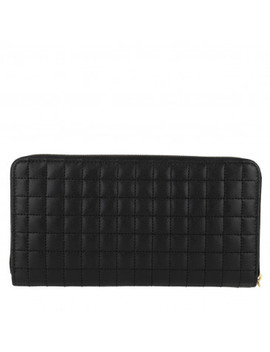 C Charm Zipped Wallet Large Quilted Leather Black by Celine