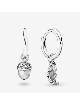 Acorn & Leaf Hoop Earrings by Pandora