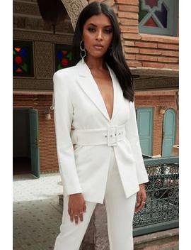 White Belted Front Tailored Blazer by Club L London