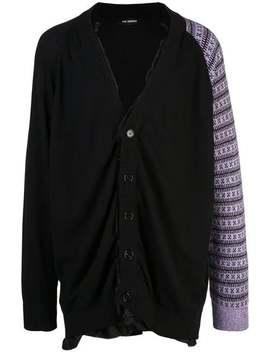 Raf Simons          Cotton Cardigan With Contrast Sleeve Purple by Raf Simons
