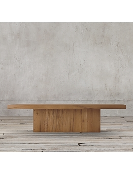 Reclaimed Russian Oak Plinth Square Coffee Table by Restoration Hardware
