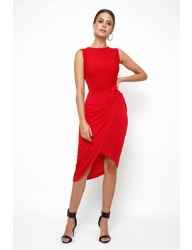 Wal G Knot Tie Red Dress by Tfnc London