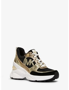 Mickey Canvas And Metallic Leather Trainer by Michael Michael Kors