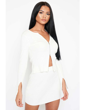 White Zip Up Crop & Mini Skirt Knit Co Ord by Luxe To Kill