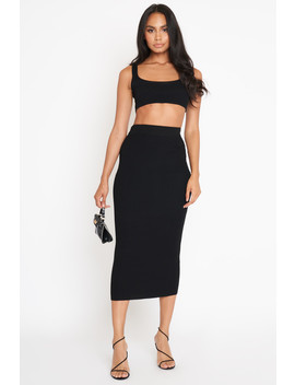 Black Scoop Neck Crop & Skirt Knit Co Ord by Luxe To Kill