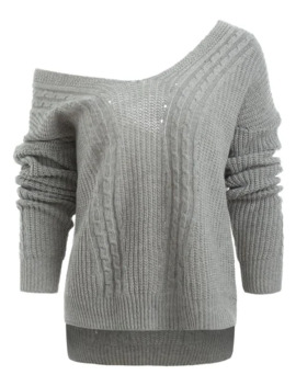 Low Cut V Neck Cable Knit Sweater by Dress Lily