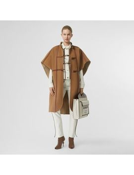 Leather Harness Detail Wool Blend Cape by Burberry