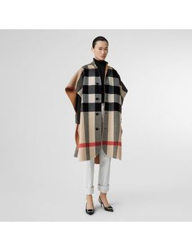 Reversible Check Wool Blend Poncho by Burberry