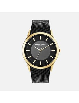 Black Mesh Watch With Gold Contrast by Kenneth Cole
