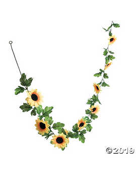 Faux Sunflower Greenery Garland by Oriental Trading
