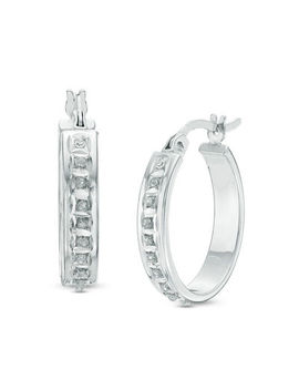 Diamond Fascination™ Small Hoop Earrings In Sterling Silver With Platinum Plate by Zales