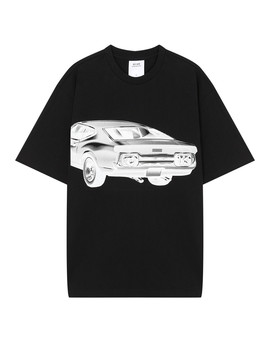 Car Print Modernist Unisex Black T Shirt by The Double F