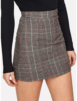 Wales Check Zip Back Skirt by Shein