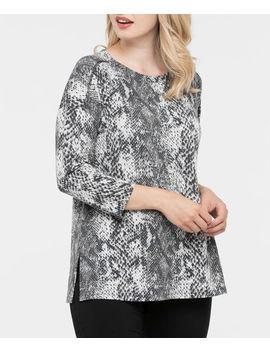3/4 Sleeve Snakeskin Print Pullover by Ricki's