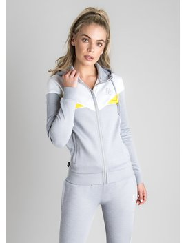 Gk Elle Poly Tracksuit Top   Grey Marl/White/Yellow by The Gym King