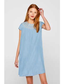 Besticktes Kleid In Denim Optik, 100% Lyocell by Esprit