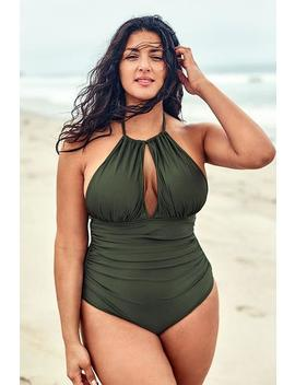 Olive Halter Plus Size One Piece Swimsuit by Cupshe