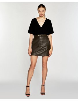 Alexander Leather Mini Skirt In Olive by Marissa Webb