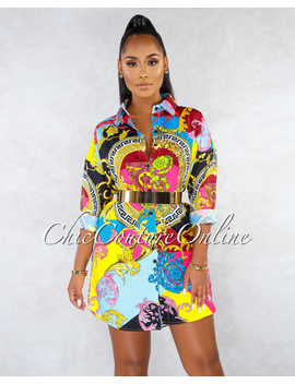 Tropic Black Multi Color Print Long Sleeves Shirt Dress by Chic Couture