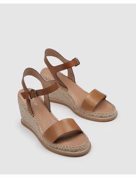 Maci High Heel Wedge Espadrilles Tan Leather by Jo Mercer