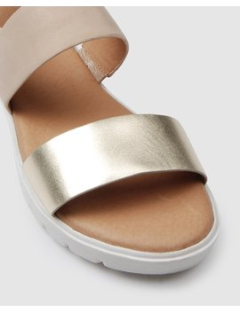 Encore Flat Sandals Natural Leather by Jo Mercer
