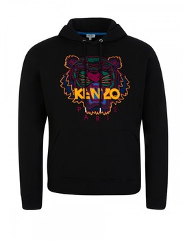 Kenzo Black Embroidered Tiger Hoodie by Kenzo