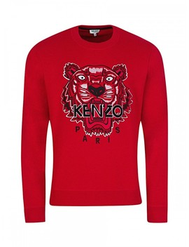 Kenzo Red Embroidered Tiger Sweatshirt by Kenzo